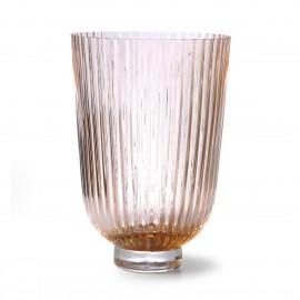 hk living vase verre nervure style classique peche