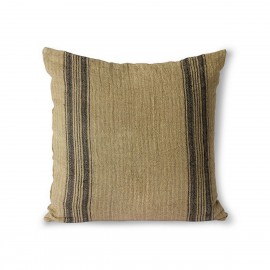 hk living coussin carre lin naturel rayures chatain