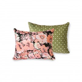 hk living doris coussin reversible fleuri corail vert