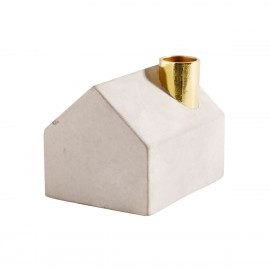 muubs bougeoir en forme de maison beton gris dore