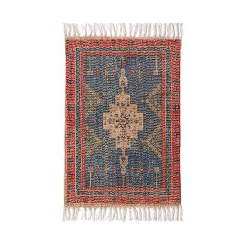 hk living petit tapis imprime style oriental rouge bleu 60 x 90 cm