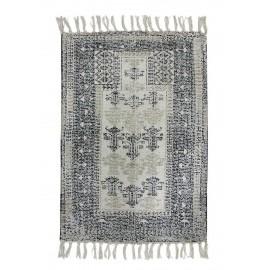 hk living petit tapis imprime oriental noir blanc 60 x 90 cm