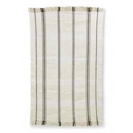 hk living tapis tisse coton blanc rayures noires 150 x 240 cm