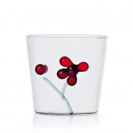 gobelet verre italien ichendorf decor sculpte exterieur baies rouge