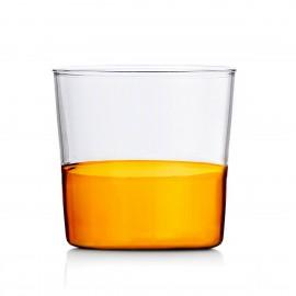 verre a eau design souffle bicolore italien ichendorf light ambre