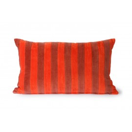 hk living coussin rectangulaire velours chic rayures rouge