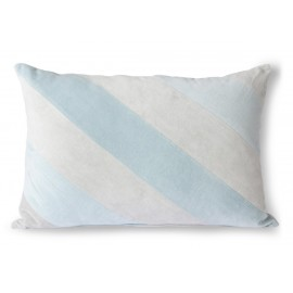 hk living coussin rectangulaire raye velours bleu clair