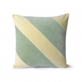 hk living coussin carre velours larges rayures vert menthe