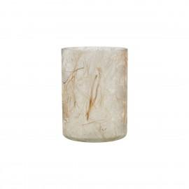 house doctor photophore verre delicat habille en fibres de coton beige