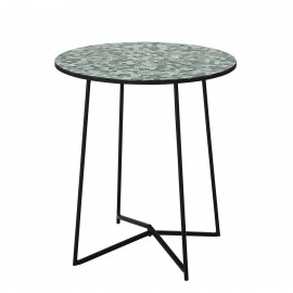 bloomingville table ronde bout de canape mosaique vert sus