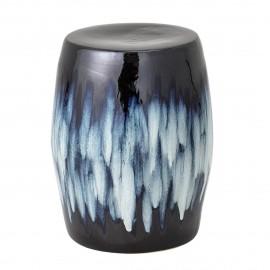 bloomingville bout de canape tabouret gres ceramique bleu ana