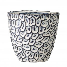 bloomingville cache pot decoratif bleu motif relief