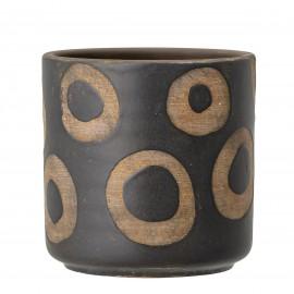 bloomingville cache pot design noir motif cercles terre cuite