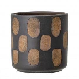 bloomingville cache pot deco noir motif geometrique terre cuite