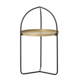 bloomingville table bout de canape fine metal noir plateau laiton