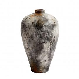 muubs echo grande jarre terre cuite brulee surface lunaire 80 cm