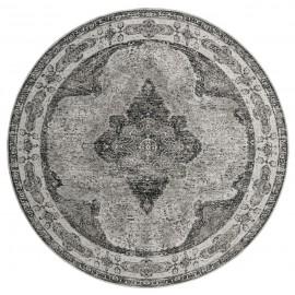 nordal tapis rond style classique vintage gris tissage jacquard 240 cm