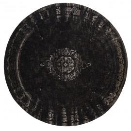 tapis rond noir style vintage baroque nordal 140 cm