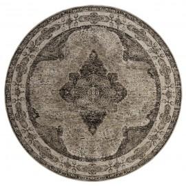 tapis rond style vintage tissage jacquard classique delave gris 140 cm