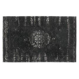 petit tapis descente de lit imprime classique vintage delave noir