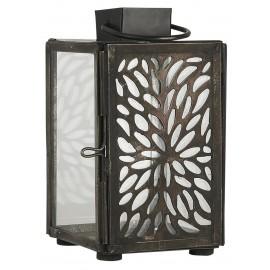ib laursen petite lanterne decorative metal ajoure noir vintage verre