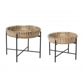 Set de 2 tables d'appoint bambou style bohème Bloomingville