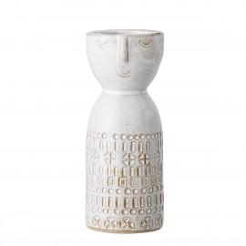 bloomingville vase femme visage gres blanc
