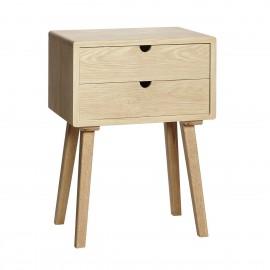 table de chevet scandinave epuree bois chene clair 2 tiroirs hubsch