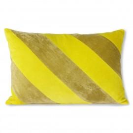 Coussin rectangulaire rayé velours HK Living jaune vert