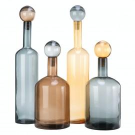 Carafes Bubbles and Bottles XXL Pols Potten set de 4 bleu marron ambre
