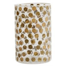 vase tube verre incuste de petites feuilles a pois marron nordal