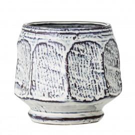 bloomingville cache pot rustique gres blanc bleu