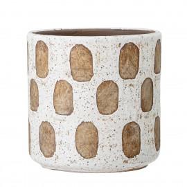 bloomingville cache pot blanc deco motifs terre cuite