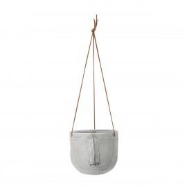 bloomingville cache pot suspendu forme de visage gres gris
