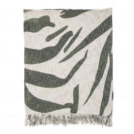 bloomingville plaid coton imprime motif vert 130 x 160 cm
