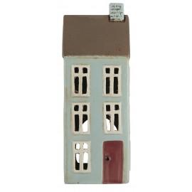 petite maison photophore ceramique bleu coloree ib laursen