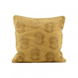 house doctor housse de coussin carre impression velours jaune moutarde