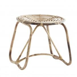 madam stoltz tabouret rond bois de bambou tresse style vintage