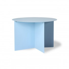 hk living table basse ronde design tole pilee bleu clair