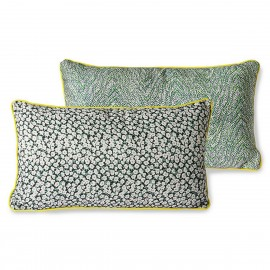 hk living doris coussin rectangulaire reversible imprime fleuri vert