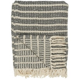 Plaid coton franges rayures IB Laursen gris