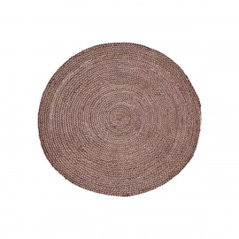house doctor petit tapis rond rouge chanvre structure