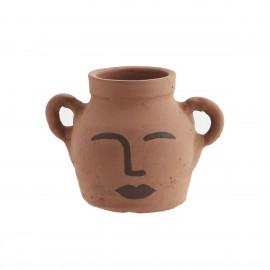 madam stoltz petit vase pot argile visage oreilles