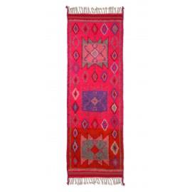 hk living tapis long laine rose vif motif geometrique vintage