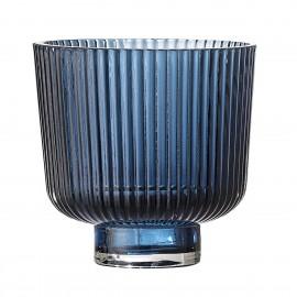 Cache-pot verre strie style vintage Bloomingville bleu