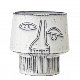bloomingville cache pot ceramique visage design gris