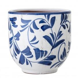 bloomingville cache pot terre cuite style azulejos portugais bleu