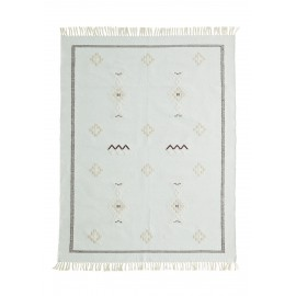 madam stoltz tapis coton tisse motif ethnique vert clair 120 X 180 cm