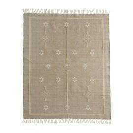 madam stoltz tapis coton tisse beige motif 120 x 180 cm