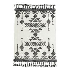 madam stoltz tapis ethnique noir blanc coton tisse